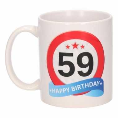 Cadeau 59 jaar mok / beker verkeersbord thema