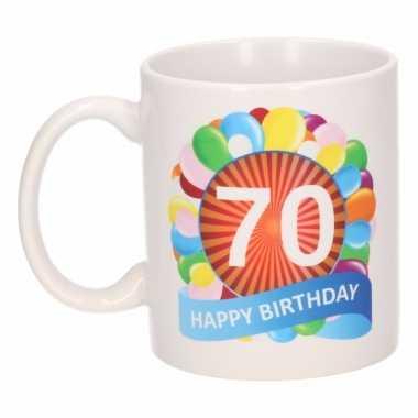 Cadeau 70 jaar mok / beker ballon thema