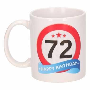 Cadeau 72 jaar mok / beker verkeersbord thema