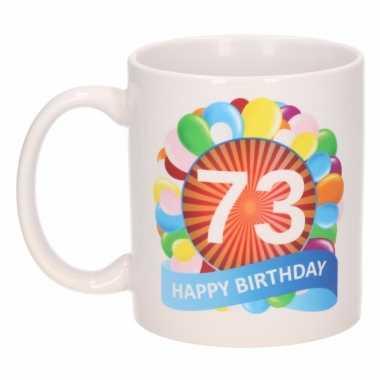 Cadeau 73 jaar mok / beker ballon thema