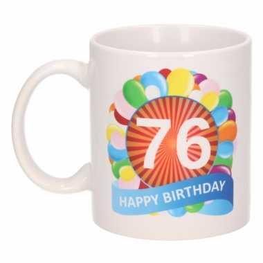 Cadeau 76 jaar mok / beker ballon thema