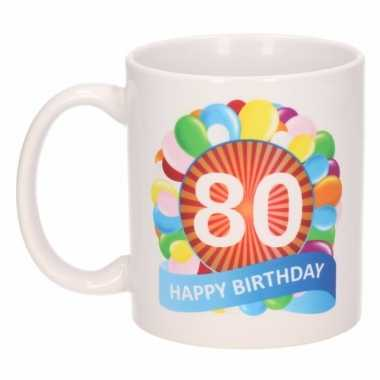 Cadeau 80 jaar mok / beker ballon thema