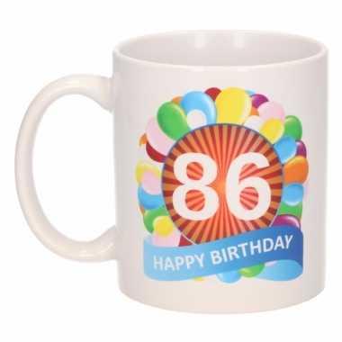 Cadeau 86 jaar mok / beker ballon thema
