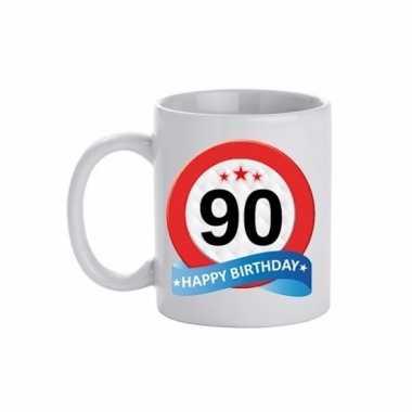 Cadeau 90 jaar mok / beker verkeersbord thema