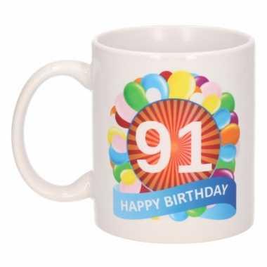 Cadeau 91 jaar mok / beker ballon thema