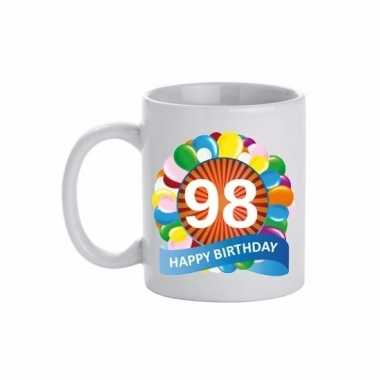 Cadeau 98 jaar mok / beker ballon thema