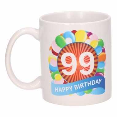 Cadeau 99 jaar mok / beker ballon thema
