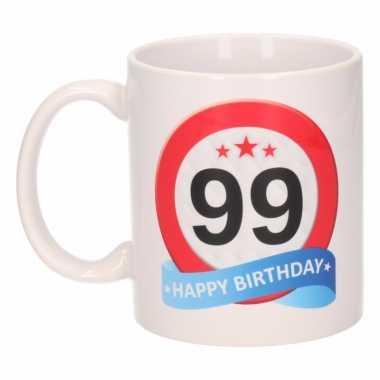 Cadeau 99 jaar mok / beker verkeersbord thema