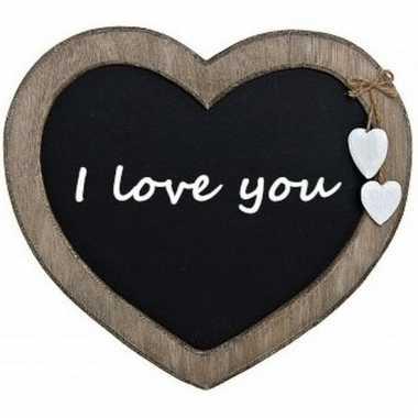 Cadeau houten hart met boodschap