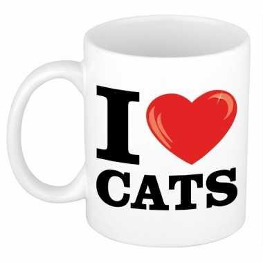 Cadeau i love cats koffiemok / beker voor katten/ poezen liefhebber 3