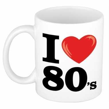 Cadeau i love eighties koffiemok / beker 300 ml voor jaren 80 liefheb