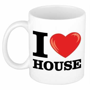 Cadeau i love house muziek koffiemok / beker 300 ml