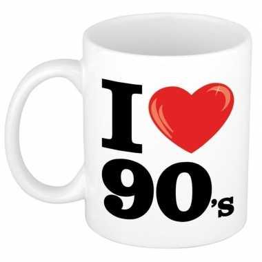 Cadeau i love nineties koffiemok / beker 300 ml voor jaren 90 liefheb