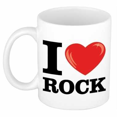 Cadeau i love rock muziek koffiemok / beker 300 ml