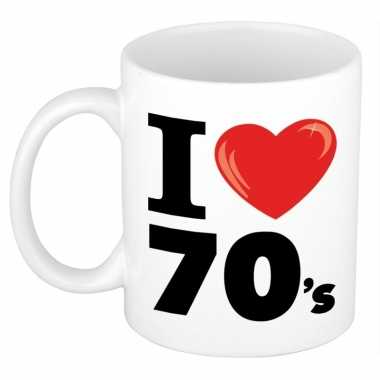 Cadeau i love seventies koffiemok / beker 300 ml voor jaren 70 liefhe