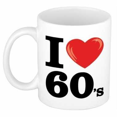 Cadeau i love sixties koffiemok / beker 300 ml voor jaren 60 liefhebb