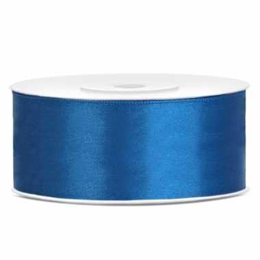 Cadeaulint kobalt blauw 25 mm