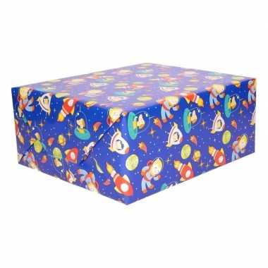 Cadeaupapier blauw ruimte thema 200 x 70 cm