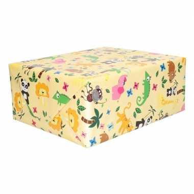 Cadeaupapier geel met dieren 200 x 70 cm