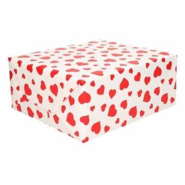 Cadeaupapier met rode hartjes opdruk 70 x 200 cm