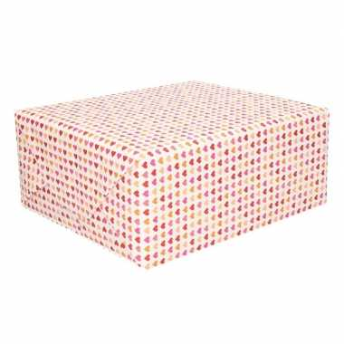 Cadeaupapier met roze hartjes opdruk 70 x 200 cm