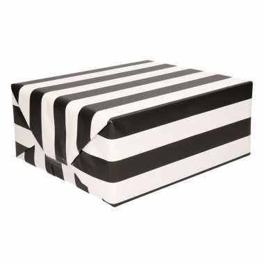 Cadeaupapier met zwart/witte streep 70 x 200 cm