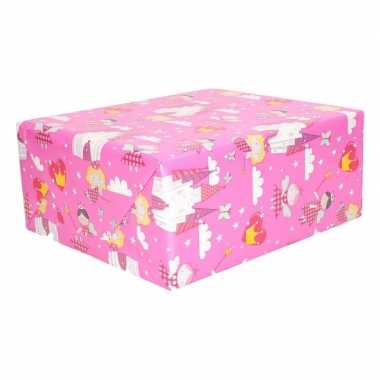 Cadeaupapier roze elfjes thema 200 x 70 cm