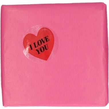 Cadeaupapier sticker i love you hartje 9 cm