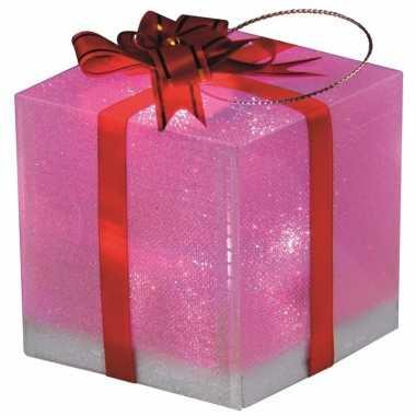 Cadeautje met led licht 7,5 cm