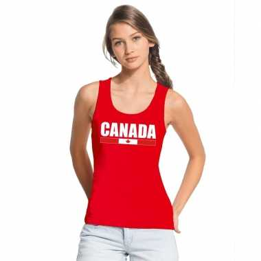 Canada supporter mouwloos shirt/ tanktop rood dames