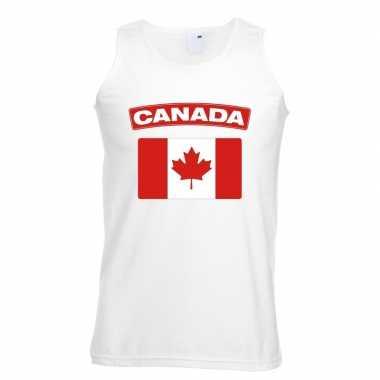Canada vlag mouwloos shirt wit heren
