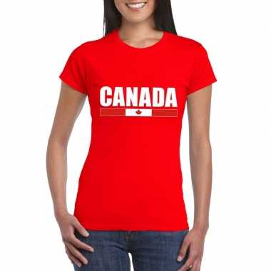 Canadese supporter t-shirt rood voor dames