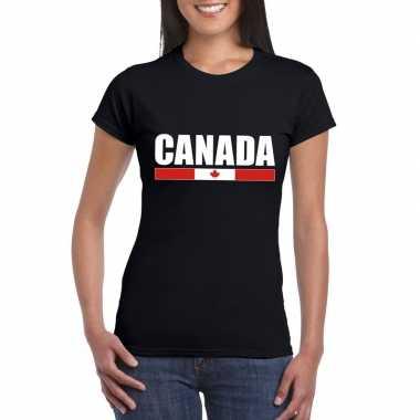 Canadese supporter t-shirt zwart voor dames