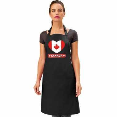 Canadese vlag in hart keukenschort/ barbecueschort zwart heren en dam