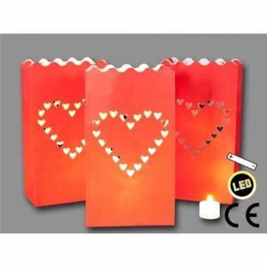 Candle bags love rood 3 stuks + led