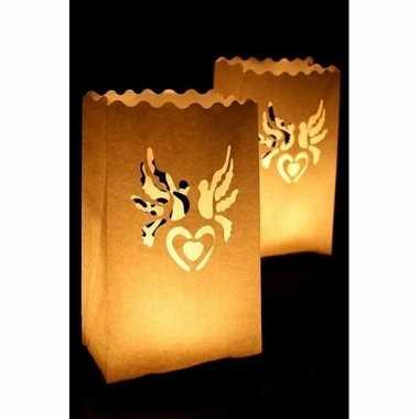 Candle bags set hart en duif 26 cm