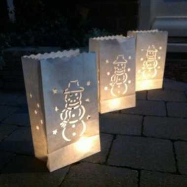 Candle bags set sneeuwman 26 cm