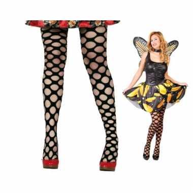 Carnaval netpanty zwart met ronde gaten