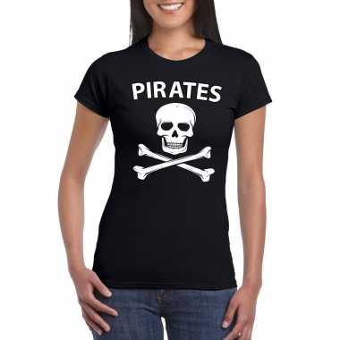 Carnaval piraten t-shirt zwart dames