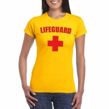 Carnaval reddingsbrigade/ lifeguard t-shirt geel dames