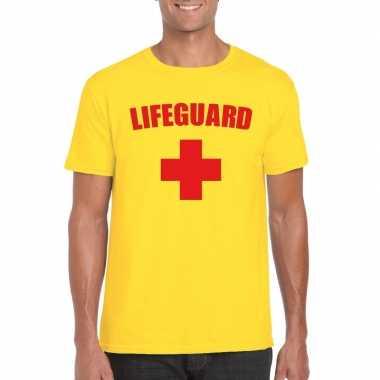 Carnaval reddingsbrigade/ lifeguard t-shirt geel heren