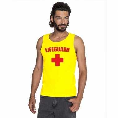 Carnaval reddingsbrigade/ lifeguard tanktop geel heren