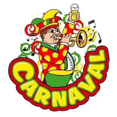 Carnaval wanddecoratie muzikant met trompet 35 x 40 cm