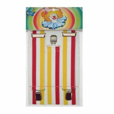 Carnavals bretels rood/geel/wit
