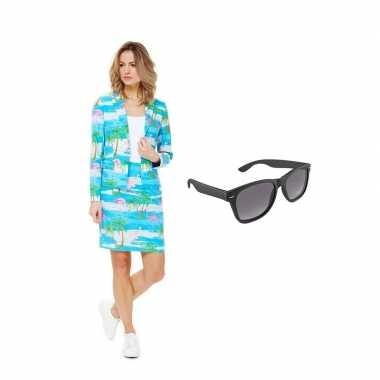 Carnavals pak flamingo print dames 40 (l) met gratis zonnebril
