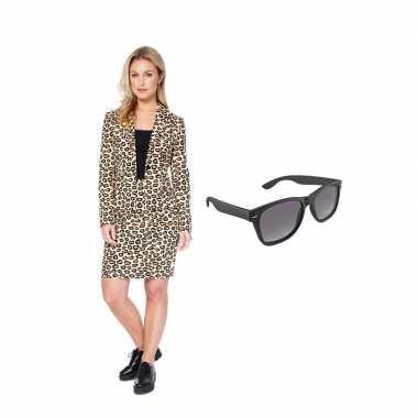 Carnavals pak luipaard print dames 42 (xl) met gratis zonnebril