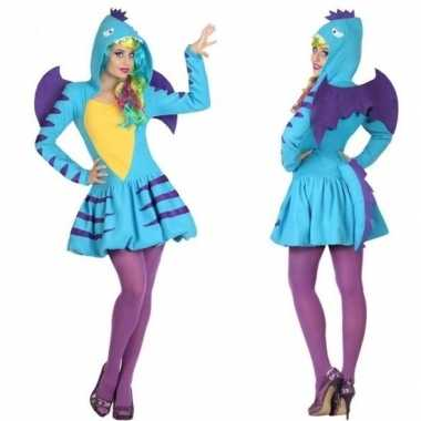 Carnavalskleding blauwe draak voor dames