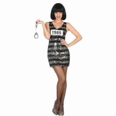 Carnavalskleding boef/crimineel ann zwart/zilver voor dames