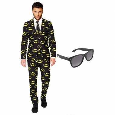 Carnavalskostuum batman heren pak 56 (xxxl) met gratis zonnebril