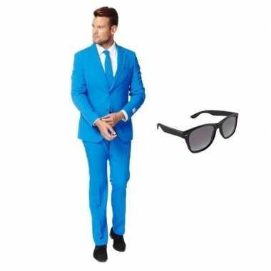 Carnavalskostuum blauw heren pak 48 (m) met gratis zonnebril